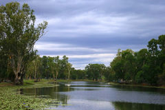 Country Australian Landscape. Australian landscape of a lake, photographed while visiting an inland country town at dusk Royalty Free Stock Photo