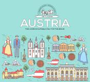 Country Austria travel vacation guide of goods, places and features. Set of architecture, people, culture, icon. Background concept. Infographics template Royalty Free Stock Photography