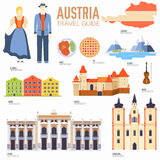 Country Austria travel vacation guide of goods, places and features. Set of architecture, people, culture, icons Royalty Free Stock Photo