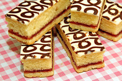 Country bakewell slices. Photo showing delicious country bakewell cake slices displayed on a pink gingham table cloth Stock Images