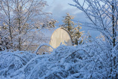 Country Barn After a Fresh Snowfall. Stock Photos