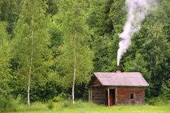 Country bathhouse. Bathhouse in farmstead near forest, northern Belarus Stock Images