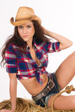 Western Woman Country Beauty Cowboy Hat Stock Images