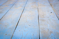 Country blue wooden table background texture. Close up Stock Photos