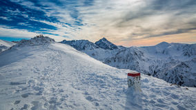 Country border in the mountains in winter, Slovakia Stock Photography