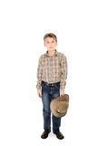 Country boy holding hat Royalty Free Stock Photo