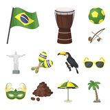 Country Brazil cartoon icons in set collection for design. Travel and attractions Brazil vector symbol stock web. Country Brazil cartoon icons in set collection stock illustration
