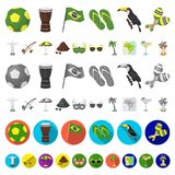 Country Brazil cartoon icons in set collection for design. Travel and attractions Brazil vector symbol stock web. Country Brazil cartoon icons in set collection royalty free illustration