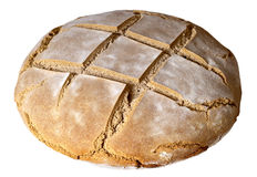 Country bread. Big rounded country bread isolated over white background Royalty Free Stock Photography