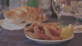 Country Bread and Radishes. Country bread with gourmet fried onion rings stock video footage