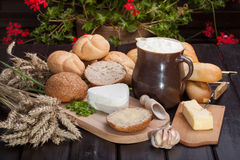 Country breakfast. Consisting of bread, cheese, milk and garlic Stock Photo