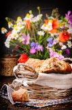 Country breakfast with fresh bread Stock Images