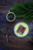 Country breakfast with pecan pie Stock Photos