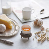 Country breakfast in vintage dishes Stock Photo