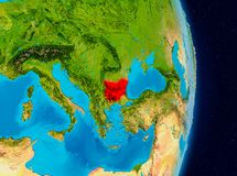 Bulgaria from space. Country of Bulgaria in red on planet Earth. 3D illustration. Elements of this image furnished by NASA Stock Images