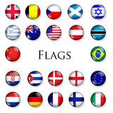 Country buttons. Button set of country flags on white Stock Photo