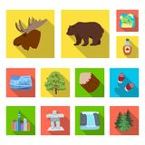 Country Canada flat icons in set collection for design. Canada and landmark vector symbol stock web illustration. Country Canada flat icons in set collection Royalty Free Stock Image