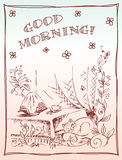 Country card graphic. Happy morning Stock Photography