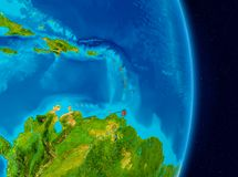 Caribbean from space. Country of Caribbean in red on planet Earth. 3D illustration. Elements of this image furnished by NASA royalty free stock images