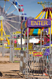Country carnival. The entrances to rides at a country carnival stock photography