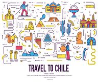 Country Chili travel vacation infographic of place and feature. Set of architecture, fashion, people, item, nature. Background concept. Infographic traditional Royalty Free Stock Photo