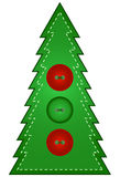 Country Christmas Tree. Decorated with three Buttons Royalty Free Stock Photo