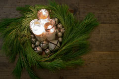 Country Christmas Wreath Table Center Piece Stock Photography