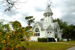 Country Church. Beautiful white wooden country church in a picturesque setting Stock Photography
