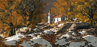 Country Church. A little country church in a fall season landscape Royalty Free Stock Images