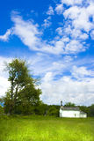 Country church. White country church in a idyllic prairie royalty free stock photos