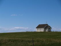 Country Church. On the Prairie with Blue Sky Royalty Free Stock Images