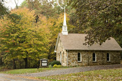 Country church in autumn Stock Photo