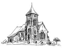 Country Church. Hand drawn illustration. Country Church. Hand drawn vector illustration Stock Photography