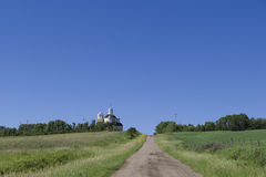 Country Church on a Hill Royalty Free Stock Photos