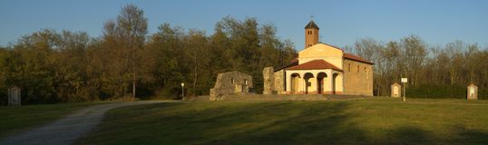 Country church, Madonna della Cella, Borgo Dale. Detail of a country church typical of piedmont Stock Photos