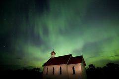 Country Church and Northern Lights Royalty Free Stock Photography