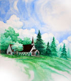 Country Church Painting Stock Photo