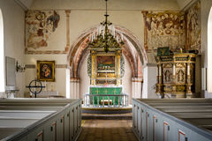 Country-church with reredos of wood and fine frescoes, Stock Images
