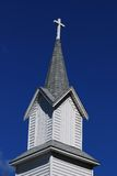 Country Church Steeple. Detail view of old country church steeple on a sunny day Royalty Free Stock Photos