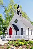 Country Church With Steeple, Small Town America. Lutheran church on a sunny summer morning before service in High River, Alberta, Canada stock photography