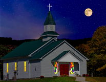 Country Church Under Moonlit Sky Stock Image