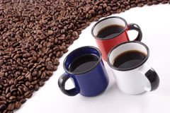 Country Coffee. Coffee from countries with Blue Red White stripes on their flags Royalty Free Stock Photo