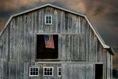 Flag in barn hayloft Stock Images