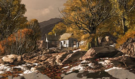 Country Cottage In A Fall Scene. A countryside cottage with patches of snow stock illustration