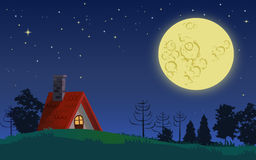 Country cottage in full moon night Royalty Free Stock Photos