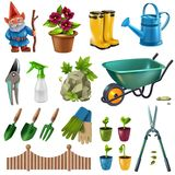Garden Accessories Set. Country cottage garden accessories design elements set with hedge trimming shears flowers plants seedlings wheelbarrow vector vector illustration