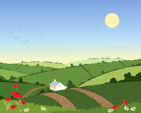 Country cottage in summer. An illustration of a country cottage in a summer landscape with rolling hills hedgerows and flowers under a blue sky Royalty Free Stock Images