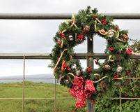 Country Cowboy Christmas Wreath Royalty Free Stock Photography