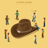 Country cowboy style wearing hat flat isometric vector 3d Stock Photo