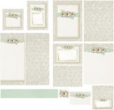 Country craft daisy flowers on jute and green gingham wedding invitation set Royalty Free Stock Photo